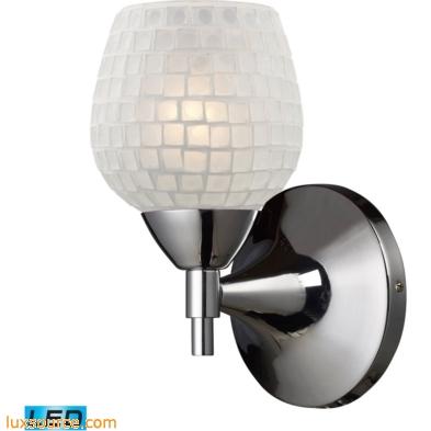 Celina 1 Light LED Sconce In Polished Chrome And White 10150/1PC-WHT-LED