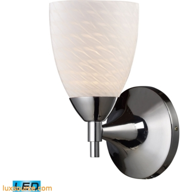 Celina 1 Light LED Sconce In Polished Chrome And White Swirl Glass 10150/1PC-WS-LED