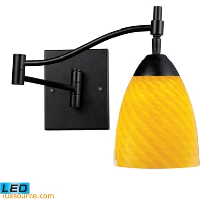 Celina 1 Light LED Swingarm Sconce In Dark Rust And Canary Glass 10151/1DR-CN-LED