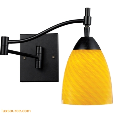 Celina 1 Light Swingarm Sconce In Dark Rust And Canary Glass 10151/1DR-CN