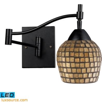 Celina 1 Light LED Swingarm Sconce In Dark Rust And Gold Leaf 10151/1DR-GLD-LED