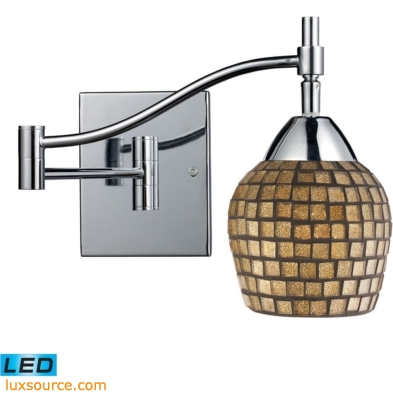 Celina 1 Light LED Swingarm Sconce In Polished Chrome And Gold Leaf Glass 10151/1PC-GLD-LED
