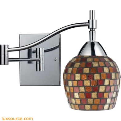 Celina 1 Light Swingarm Sconce In Polished Chrome And Multi Fusion Glass 10151/1PC-MLT
