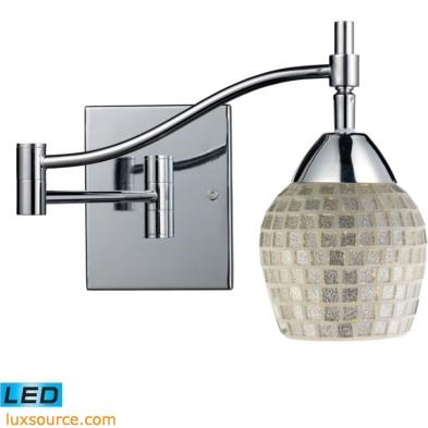Celina 1 Light LED Swingarm Sconce In Polished Chrome And Silver Glass 10151/1PC-SLV-LED
