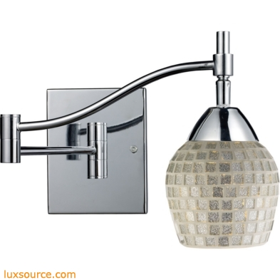 Celina 1 Light Swingarm Sconce In Polished Chrome And Silver Glass 10151/1PC-SLV