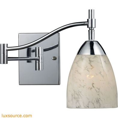 Celina 1 Light Swingarm Wall Sconce In Polished Chrome And Snow White 10151/1PC-SW