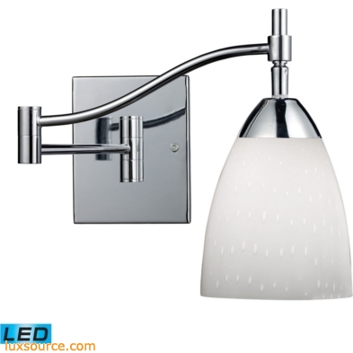 Celina 1 Light LED Swingarm Sconce In Polished Chrome And Simple White 10151/1PC-WH-LED