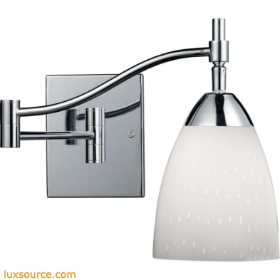 Celina 1 Light Swingarm Sconce In Polished Chrome And Simple White 10151/1PC-WH