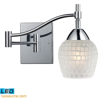 Celina 1 Light LED Swingarm Sconce In Polished Chrome And White 10151/1PC-WHT-LED