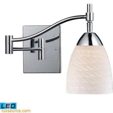 Celina 1 Light LED Swingarm In Polished Chrome And White Swirl Glass 10151/1PC-WS-LED