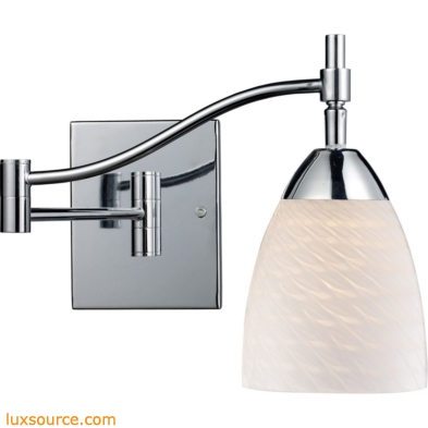 Celina 1 Light Swingarm In Polished Chrome And White Swirl Glass 10151/1PC-WS