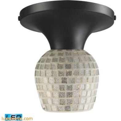 Celina 1 Light LED Semi Flush In Dark Rust And Silver Glass 10152/1DR-SLV-LED