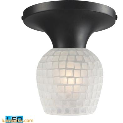 Celina 1 Light LED Semi Flush In Dark Rust And White 10152/1DR-WHT-LED