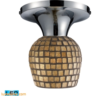 Celina 1 Light LED Semi Flush In Polished Chrome And Gold Leaf Glass 10152/1PC-GLD-LED