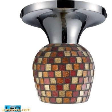 Celina 1 Light LED Semi Flush In Polished Chrome And Multi Fusion Glass 10152/1PC-MLT-LED