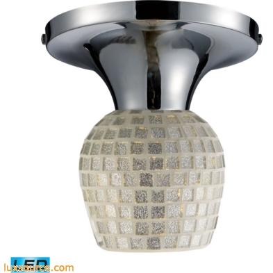Celina 1 Light LED Semi Flush In Polished Chrome And Silver 10152/1PC-SLV-LED