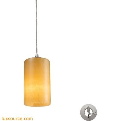 Coletta - Piedra 1 Light Pendant In Satin Nickel And Genuine Stone - Includes Recessed Lighting Kit 10169/1-LA
