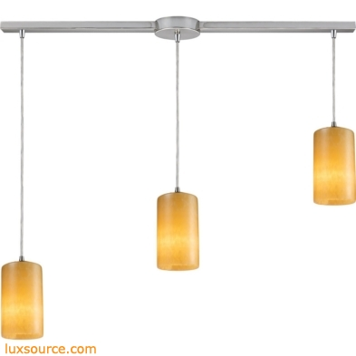 Coletta - Piedra 3 Light Pendant In Satin Nickel And Genuine Stone 10169/3L
