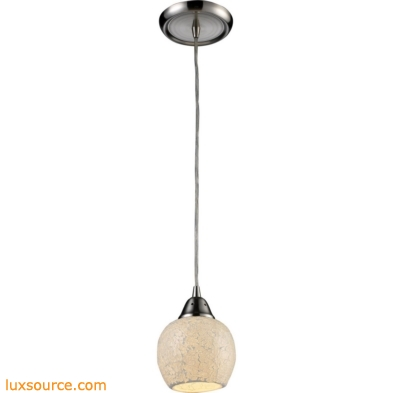 Fission 1 Light LED Pendant In Satin Nickel And Cloud Glass 10208/1CLD-LED