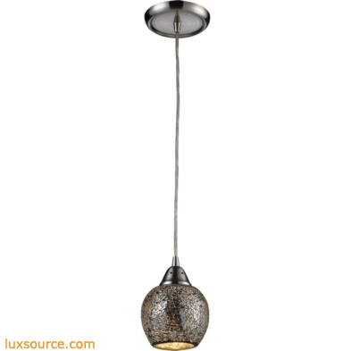 Fission 1 Light Pendant In Satin Nickel And Silver Glass 10208/1SLV