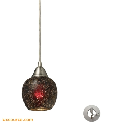 Fission 1 Light Pendant In Satin Nickel And Wine Glass - Includes Recessed Lighting Kit 10208/1WN-LA