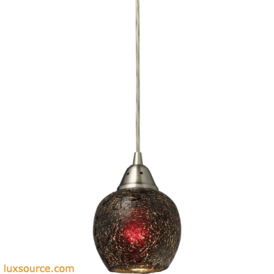 Fission 1 Light LED Pendant In Satin Nickel And Wine Glass 10208/1WN-LED