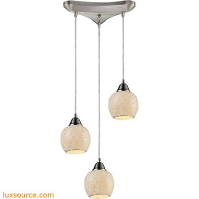 Fission 3 Light Pendant In Satin Nickel And Cloud Glass 10208/3CLD