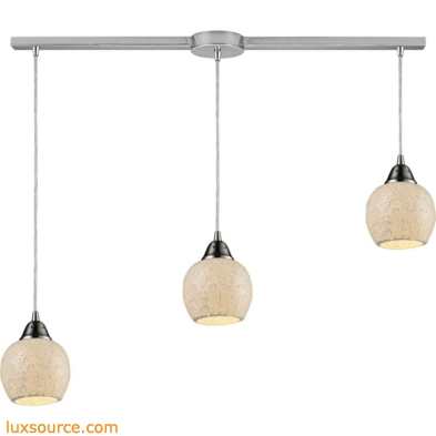Fission 3 Light Pendant In Satin Nickel And Cloud Glass 10208/3L-CLD