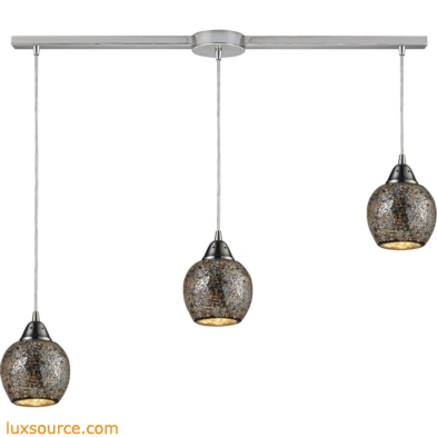 Fission 3 Light Pendant In Satin Nickel And Silver Glass 10208/3L-SLV