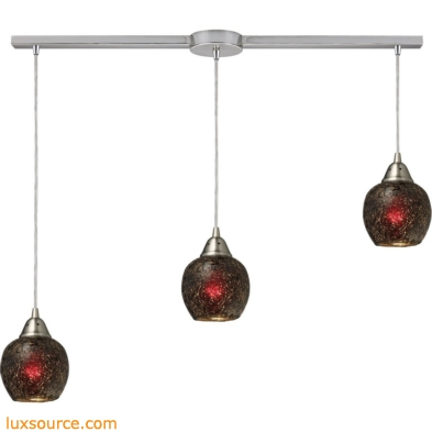 Fission 3 Light Pendant In Satin Nickel And Wine Glass 10208/3L-WN