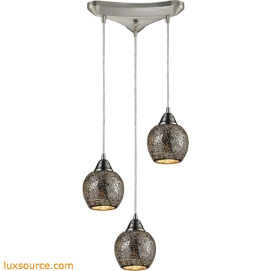 Fission 3 Light Pendant In Satin Nickel And Silver Glass 10208/3SLV