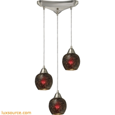 Fission 3 Light Pendant In Satin Nickel And Wine Glass 10208/3WN