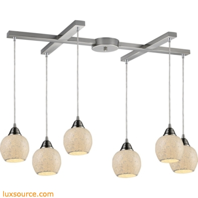 Fission 6 Light Pendant In Satin Nickel And Cloud Glass 10208/6CLD