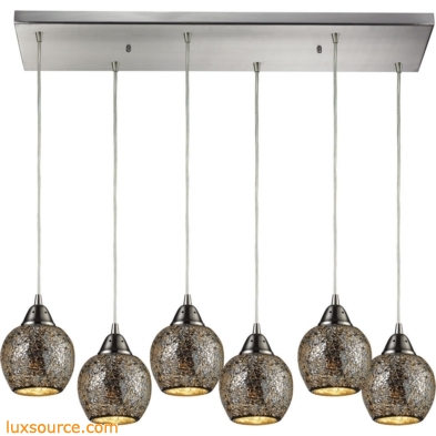 Fission 6 Light Pendant In Satin Nickel And Silver Glass 10208/6RC-SLV