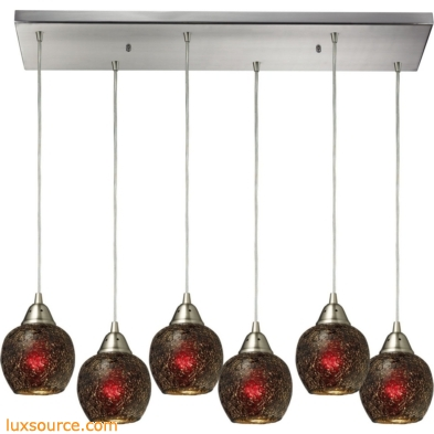 Fission 6 Light Pendant In Satin Nickel And Wine Glass 10208/6RC-WN