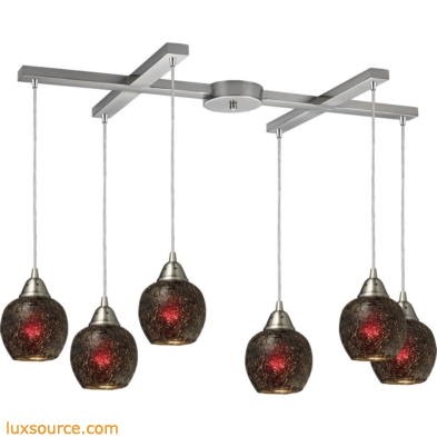 Fission 6 Light Pendant In Satin Nickel And Wine Glass 10208/6WN