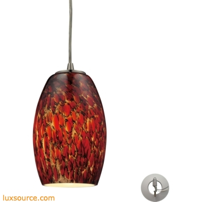 Maui 1 Light Pendant In Satin Nickel And Ember Glass - Includes Recessed Lighting Kit 10220/1EMB-LA