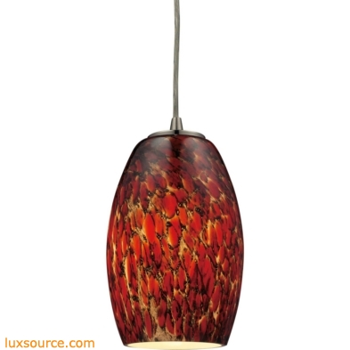 Maui 1 Light Pendant In Satin Nickel And Ember Glass 10220/1EMB