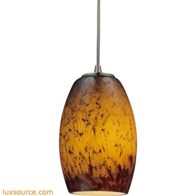 Maui 1 Light LED Pendant In Satin Nickel And Sunset Glass 10220/1SUN-LED