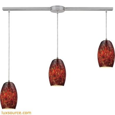 Maui 3 Light Pendant In Satin Nickel And Ember Glass 10220/3L-EMB
