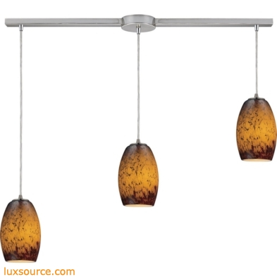 Maui 3 Light Pendant In Satin Nickel And Sunset Glass 10220/3L-SUN