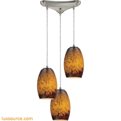 Maui 3 Light Pendant In Satin Nickel And Sunset Glass 10220/3SUN