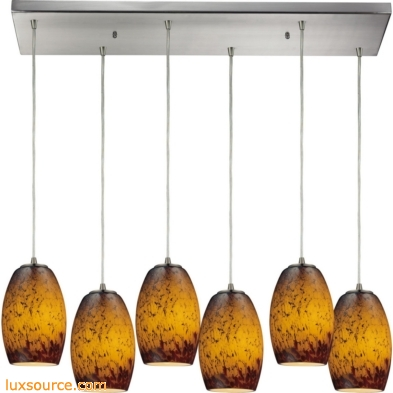 Maui 6 Light Pendant In Satin Nickel And Sunset Glass 10220/6RC-SUN