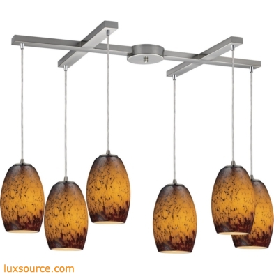 Maui 6 Light Pendant In Satin Nickel And Sunset Glass 10220/6SUN