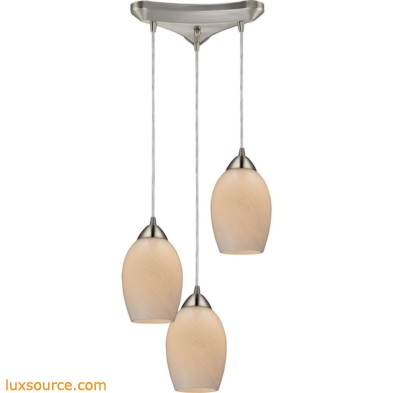 Favela 3 Light Pendant In Satin Nickel And Cocoa Glass 10222/3COC