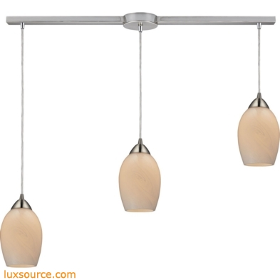 Favela 3 Light Pendant In Satin Nickel And Cocoa Glass 10222/3L-COC