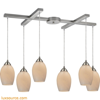 Favela 6 Light Pendant In Satin Nickel And Cocoa Glass 10222/6COC