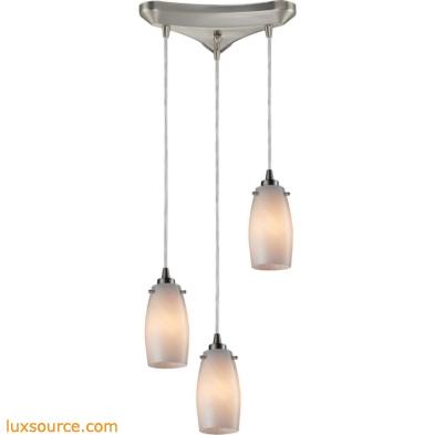 Favelita 3 Light Pendant In Satin Nickel And Cocoa Glass 10223/3COC