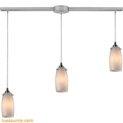 Favelita 3 Light Pendant In Satin Nickel And Cocoa Glass 10223/3L-COC
