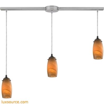 Favelita 3 Light Pendant In Satin Nickel And Honey Melon Glass 10223/3L-MEL